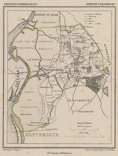 Gemeente Woensdrecht anno ca. 1870, kaart J. Kuijper (collectie www.atlasenkaart.nl)