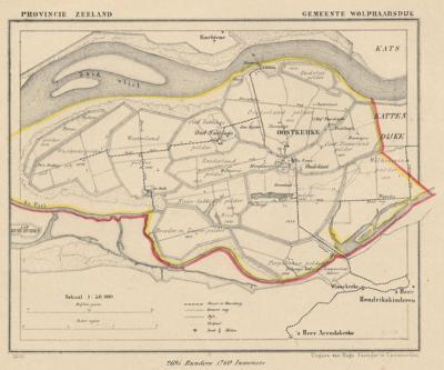 Gemeente Wolphaartsdijk anno ca. 1870, kaart J. Kuijper (© www.atlasenkaart.nl)