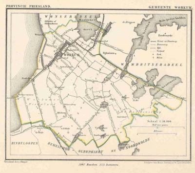 Gemeente Workum anno ca. 1870, kaart J. Kuijper (collectie www.atlasenkaart.nl)