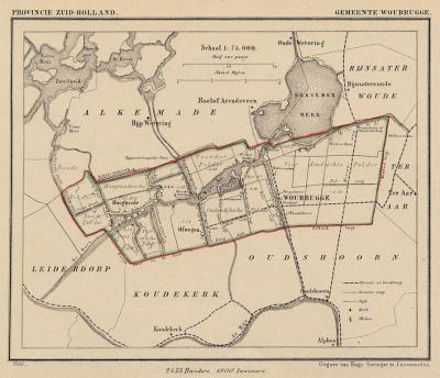 Gemeente Woubrugge anno ca. 1870, kaart J. Kuijper (collectie www.atlasenkaart.nl)