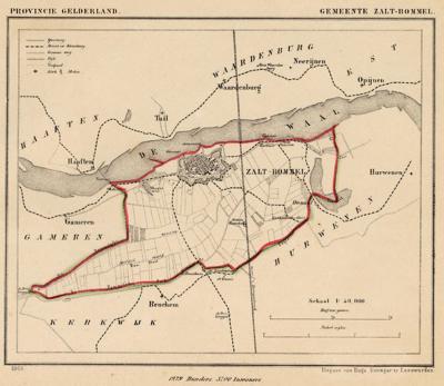 Gemeente Zaltbommel anno ca. 1870, kaart J. Kuijper