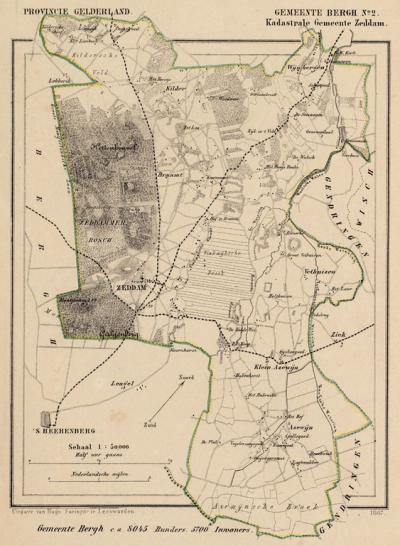 Kaart van de in 1821 opgeheven gemeente Zeddam, situatie anno ca. 1870, kaart J. Kuijper