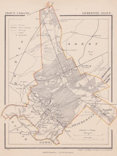 Gemeente Zeist anno ca. 1870, kaart J. Kuijper (© www.atlasenkaart.nl)