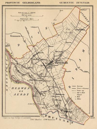 Gemeente Zevenaar anno ca. 1870, kaart J. Kuijper