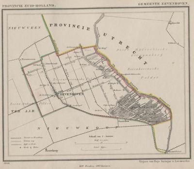 Gemeente Zevenhoven anno ca. 1870, kaart J. Kuijper (collectie www.atlasenkaart.nl)