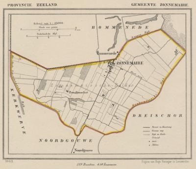 Gemeente Zonnemaire anno ca. 1870, kaart J. Kuijper (© www.atlasenkaart.nl)
