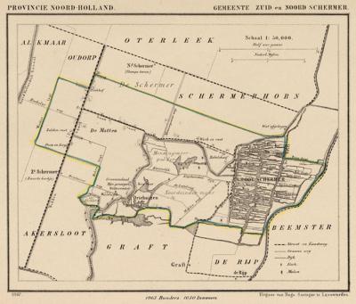 Gemeente Zuid- en Noord-Schermer anno ca. 1870, kaart J. Kuijper (collectie www.atlasenkaart.nl)