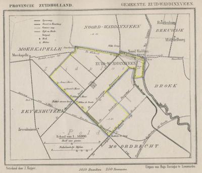 Gemeente Zuid-Waddinxveen anno ca. 1870, kaart J. Kuijper (© Atlasenkaart.nl)