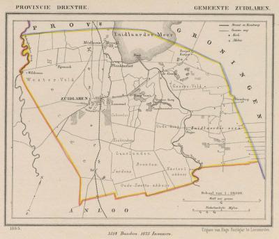 Gemeente Zuidlaren anno ca. 1870, kaart J. Kuijper (collectie www.atlasenkaart.nl)