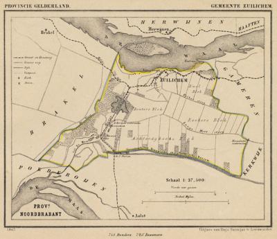 Gemeente Zuilichem anno ca. 1870, kaart J. Kuijper