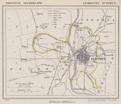 Gemeente Zutphen anno ca. 1870, kaart J. Kuijper