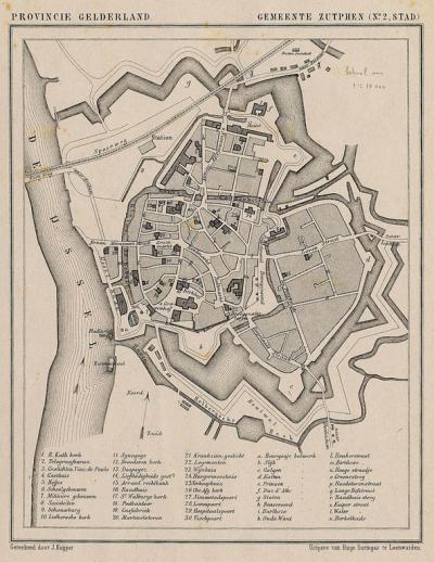 Stad Zutphen anno ca. 1870, kaart J. Kuijper