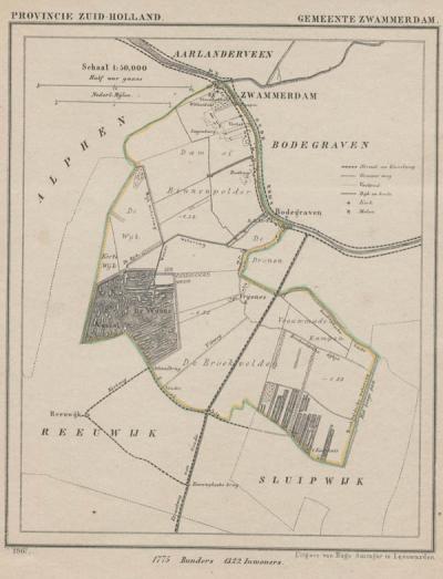 Gemeente Zwammerdam in ca. 1870, kaart J. Kuijper (collectie www.atlasenkaart.nl)