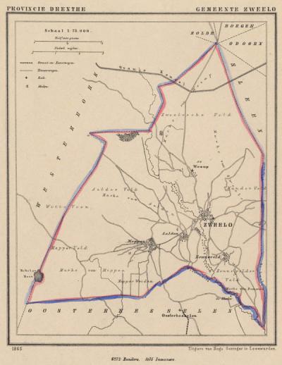 Gemeente Zweeloo anno ca. 1870, kaart J. Kuijper (collectie www.atlasenkaart.nl)