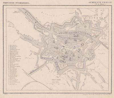 Stad Zwolle anno ca. 1870, kaart J. Kuijper (collectie www.atlasenkaart.nl)