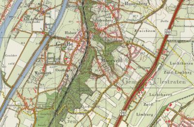 Gemeente Geulle, ca. 1980. Vooral vanaf de jaren zestig wordt overal fors gebouwd, zo ook hier. Buurtschap Hulsen is de nieuwe dorpskern Geulle geworden, Hussenberg en Snijdersberg worden fors uitgebreid, en ook rond de kerk van Moorveld groeit een kern.