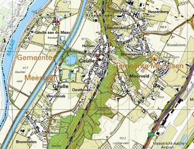 Op deze actuele kaart is de bebouwingsontwikkeling van Geulle-met-buurtschappen goed te zien: de nieuwe dorpskern in het centrum, O van de spoorlijn is een forse kern gegroeid rond de buurtschappen Hussenberg en Snijdersberg, en een kern in Moorveld.