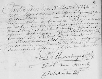 In een huwelijksakte uit 1742, vanuit Ter Aar, komen we voor buurtschap Gieltjesdorp de spelling Gietsendorp tegen. (collectie Leonard van Kessel/www.facebook.com/leonard.vankessel)