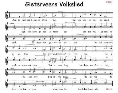 Veel dorpen blijken een volkslied te hebben. Ook Gieterveen heeft er een.
