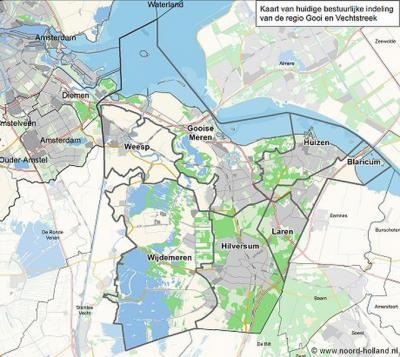 De regio Gooi en Vechtstreek beslaat de streek 't Gooi en het Noord-Hollandse deel van de Vechtstreek, zoals afgebeeld op deze kaart. Het betreft de gemeenten Blaricum, Gooise Meren, Hilversum, Huizen, Laren, Weesp en Wijdemeren.