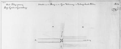 Gooland, voor de aanleg van de in 1870 gereedgekomen spoorlijn Gouda-'s-Gravenhage, door de Nederlandsche Rhijnspoorweg Mij., moesten tientallen waterlopen worden overbrugd met bruggen en duikers. Hier de tekening van de spoorbrug over de Goo Wetering.