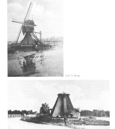 De poldermolen van 's-Gravensloot, oftewel de 's-Gravensloter Molen, vóór de onttakeling in 1884, en erna. De romp is nog tot 1910 in gebruik geweest als woning. In dat jaar is ook de romp afgebroken. (© www.shhv.nl)