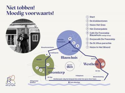 In 2018 is de wandel- en fietsroute 'Niet tobben! Moedig Voorwaarts!' (9 km) gerealiseerd, langs plekken in de omgeving waar Gerard Reve veel kwam. Op zes locaties in Greonterp, Blauwhuis en Westhem zijn in dit kader tevens informatiepanelen geplaatst.