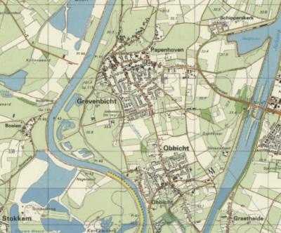 Over de plaatsen Grevenbicht, Papenhoven, Obbicht en Schipperskerk op deze kaart valt in topografisch opzicht veel meer te vertellen dan je op het eerste gezicht zou denken. Het lijkt Baarle-Nassau wel... Voor nadere informatie zie het kopje Beeld.