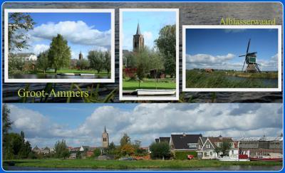 Groot-Ammers, collage van dorpsgezichten. (© Jan Dijkstra, Houten)