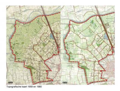 Op deze kaarten is goed te zien hoe ingrijpend een landschap door ruilverkaveling kan veranderen. In dit geval Groot Overveld en omgeving, waar in de jaren 1970 ruilverkaveling heeft plaatsgevonden. Voor nadere informatie zie het hoofdstuk Landschap etc.