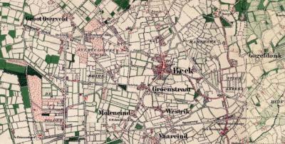 Buurtschap Groot Overveld liep vroeger door tot W van de dorpskern van het huidige Prinsenbeek (voorheen Beek). In die omgeving was ook sprake van een gebied 'Overveldse Heide', waar tot begin 20e eeuw ook daadwerkelijk nog sprake was van een heidegebied.