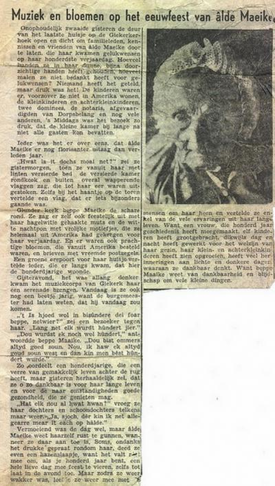 Mooi, helaas ongedateerd artikel over 'âlde Maeike' uit Gytsjerksterhoeke t.g.v. haar 100e verjaardag. Een mooi verhaal om te lezen. Het hele dorp komt langs om haar te feliciteren.