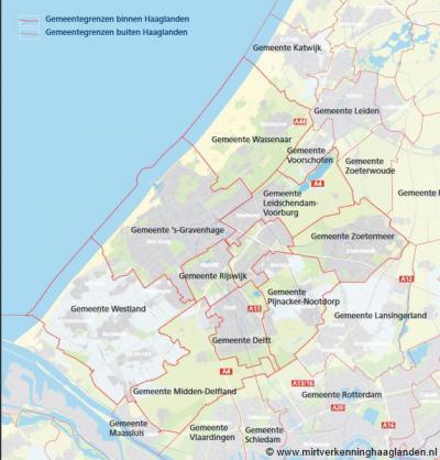 Het intergemeentelijk samenwerkingsverband Stadsgewest Haaglanden (de negen gemeenten met de dikke rode lijnen op de kaart) is per 1-1-2015 opgeheven. Als geografische en maatschappelijke regio blijft Haaglanden echter gewoon bestaan.