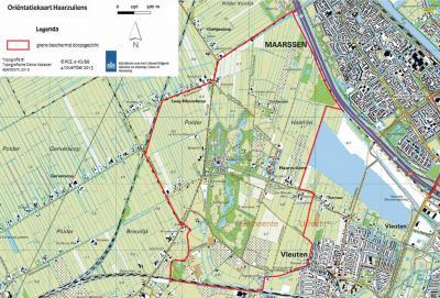 Het grootste deel van het dorpsgebied van Haarzuilens is in 2013 definitief tot beschermd dorpsgezicht benoemd. Hoe de grenzen van dat gebied lopen, kun je zien op deze kaart. (© Rijksdienst voor het Cultureel Erfgoed)