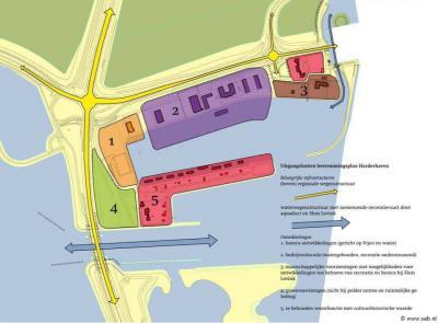Deze kaart geeft mooi de multidisciplinariteit van het buurtschapje Harderhaven aan. Op dit kleine oppervlak vinden we de functies horeca, bedrijven, scouting, groen en wonen. Verder twee provinciale wegen, een sluis, een gemaal, een aquaduct en een brug.
