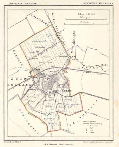 Gemeente Harmelen anno ca. 1870, kaart J. Kuijper