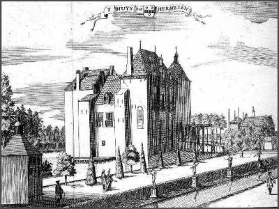 Harmelerwaard, Huize Harmelen is in de loop der eeuwen diverse keren afgebroken en weer herbouwd. Hier de staat van het kasteel anno ca. 1760. Het huidige Huize Harmelen ziet er heel anders uit en dateert van 1950.