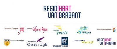 Hier zie je de negen samenwerkende gemeenten in de Regio Hart van Brabant mooi bij elkaar, met hun logo's.