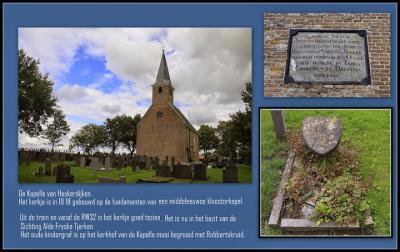 Haskerdijken, zaalkerkje De Kapelle met oud kindergraf. (© Jan Dijkstra, Houten)