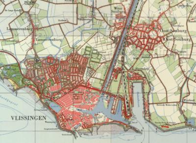 Kaart van Vlissingen e.o. anno ca. 1960. Wijk/dorp Havendorp lag direct N van de Buitenhaven, zoals hier goed is te zien. In 1963 is de wijk afgebroken. Ter plekke herinnert niets er meer aan. (© Kadaster)