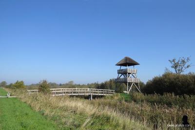 Vanuit deze uitkijktoren in de Jan Durkspolder N van buurtschap Headammen kun je de flora en fauna in de omgeving goed bekijken