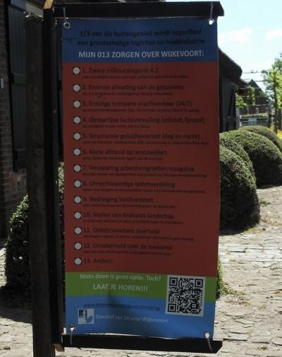 Buurtschap Heikant (Tilburg), protest-poster tegen het in/bij deze buurtschap beoogde bedrijventerrein Wijkevoort. Voor nadere informatie zie de hoofdstukken Recente ontwikkelingen en Links. (© Martijn de Rooij)