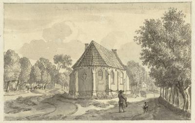 De kapel van Helsdingen, op een tekening uit 1750 van Jan de Beijer (https://nl.wikipedia.org/wiki/Jan_de_Beijer, tekening: collectie Rijksmuseum)