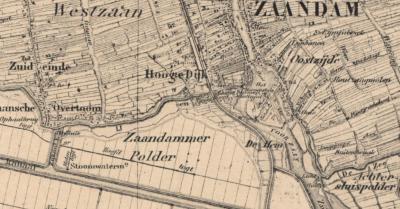 Kaart van kort na 1876 (het jaar waarin het Noordzeekanaal gereedkomt): W van het schiereiland is het IJ ingepolderd tot de Zaandammerpolder. De buurtschap wordt nu gespeld als De Hem.