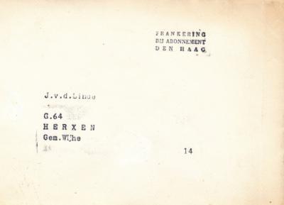 Vóór de introductie van het postcodeboek in 1978 waren veel gemeenten voor de postadressen nog ingedeeld in 'wijken' met een letter. Herxen was in de gemeente Wijhe dus wijk G, en de fam. V.d. Linde woonde daarbinnen op huisnr. 64. Zo ging dat vroeger...