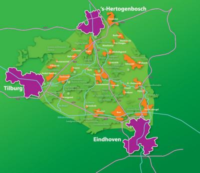 Nationaal Landschap Het Groene Woud is een groot aaneengesloten natuur- en recreatiegebied in Brabant. Zoals je ziet is het precies een mooie 'groene driehoek' tussen de steden 's-Hertogenbosch, Tilburg en Eindhoven (© www.landschapscanonhetgroenewoud.com