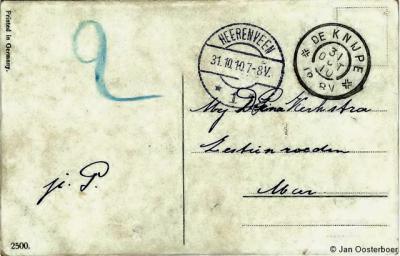 Ansichtkaart in 1910 verstuurd van De Knijpe (het huidige De Knipe) naar de Zestienroeden vallend onder de W van De Knipe gelegen buurtschap Het of 't Meer, die in die tijd ook Meer werd genoemd zonder voorvoegsel, getuige ook de adressering van de kaart.