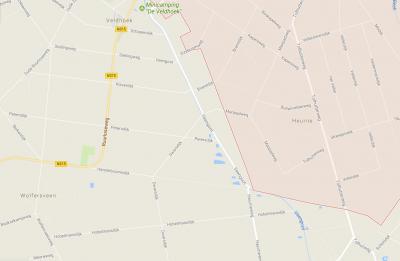 Buurtschap Heurne bij Ruurlo op een actuele kaart (= het roze geaccentueerde deel) (© Google)