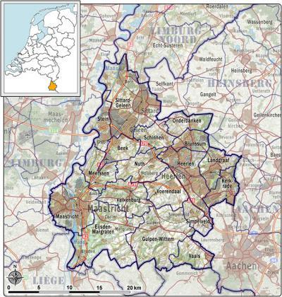 De streek Heuvelland is het landelijke, niet-verstedelijkte deel van Zuid-Limburg, voor zover gelegen Z van Sittard (bron: NLR, ESA, AHN. Vervaardigd door Jan Willem van Aalst)