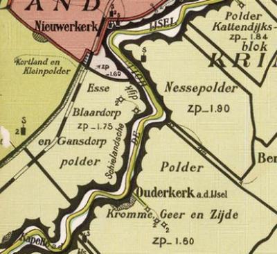 Het gebied Hitland ligt in de Polder Esse, Gansdorp en Blaardorp; vanouds 3 aparte polders, die in 1853 tot één polder zijn samengevoegd. Goed te zien op deze kaart van W.H. Hoekwater uit 1901.